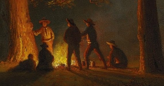Hunker down for tales around the campfire -- a painting by Albert Bierstadt